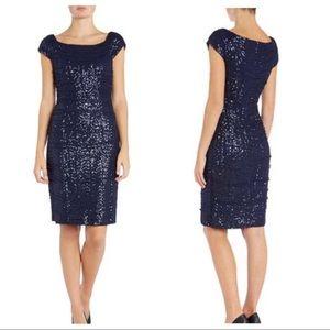NWT Lauren Ralph Lauren mesh sequin cap dress